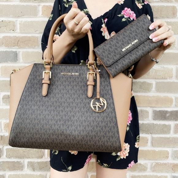 ec8e93c6d67 Michael Kors Ciara large brown satchel wallet SET